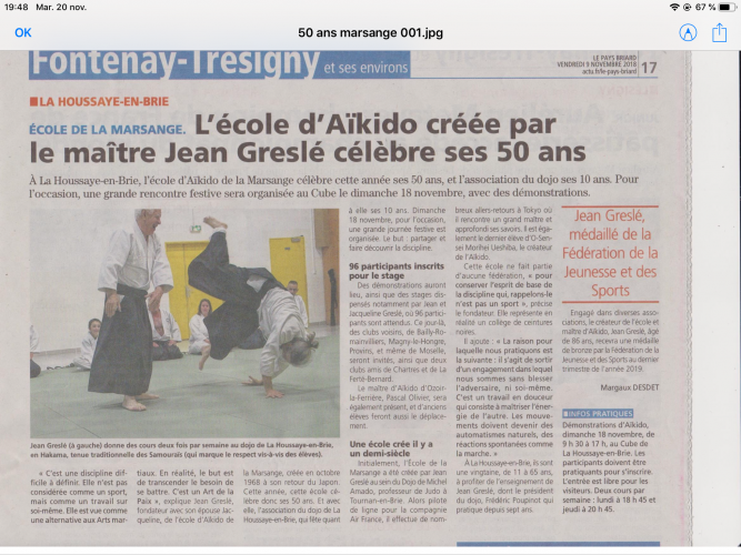 Les 50 ans de l'Ecole de la Marsange, les 10 ans du Dojo de la Houssaye en brie